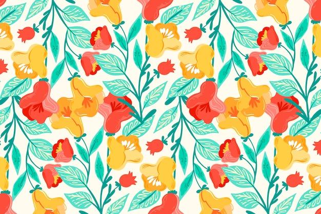 Kleurrijke ditsy bloemenprint op witte achtergrond