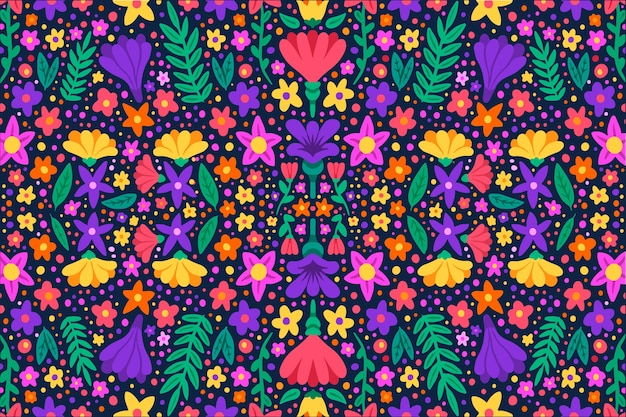 Kleurrijke ditsy bloemenprintachtergrond