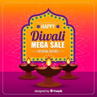 Kleurrijke diwali verkoop in plat ontwerp