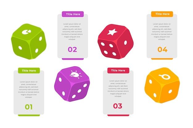Kleurrijke dobbelstenen infographic