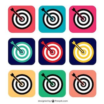 Kleurrijke doel iconen