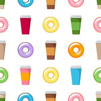 Kleurrijke donuts en koffie cups naadloze achtergrond. coffeeshop patroon vector.