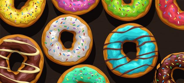 Kleurrijke donuts op zwarte achtergrond