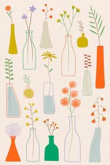 Kleurrijke doodle bloemen in vaas