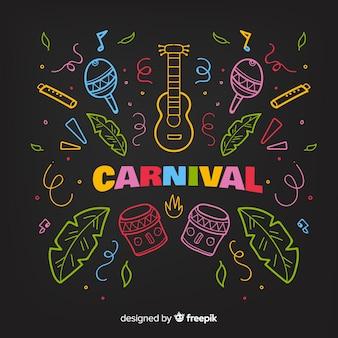 Kleurrijke doodle carnaval achtergrond