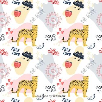 Kleurrijke doodle cheetah en woorden patroon