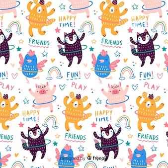 Kleurrijke doodle dieren met hoelahoep en woorden patroon