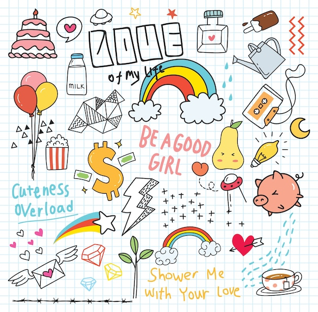 Kleurrijke doodle op papier achtergrond