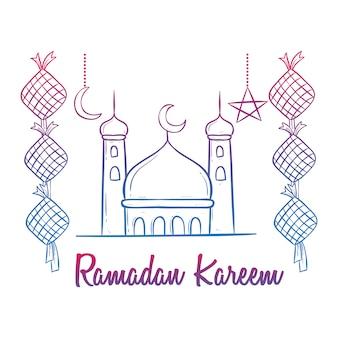 Kleurrijke doodle ramadan kareem viering met moskee en decoratie