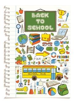 Kleurrijke doodle school pictogrammen instellen.