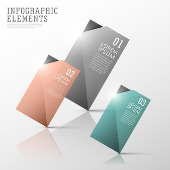 Kleurrijke doorschijnende tag infographic elementen instellen sjabloon