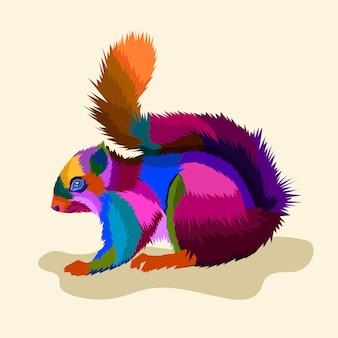 Kleurrijke eekhoorn pop-art stijl