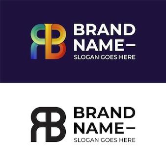 Kleurrijke eerste abstracte letter rb monogram logo-ontwerp met zwarte logo-versies