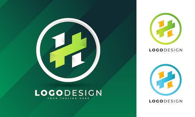 Kleurrijke eerste h briefsjabloon logo ontwerp
