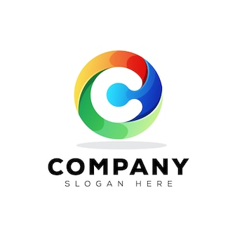 Kleurrijke eerste letter c technologie logo ontwerpsjabloon