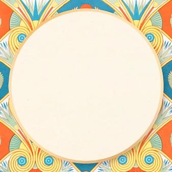 Kleurrijke egyptische patroon frame vector decoratieve illustratie
