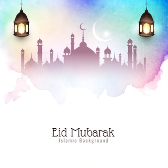 Kleurrijke eid mubarak elegante decoratieve