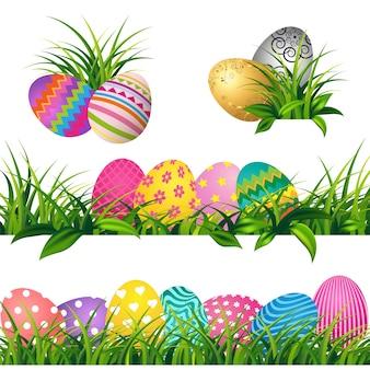 Kleurrijke eieren en lente groen gras grenzen instellen voor pasen dag