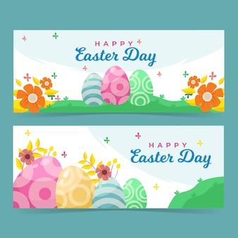 Kleurrijke eieren in de bannermalplaatje van daglicht gelukkig pasen