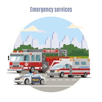 Kleurrijke emergency city transport concept