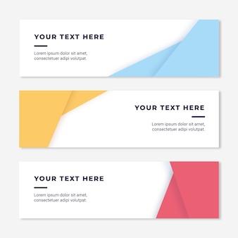 Kleurrijke en elegante abstracte websitebanners