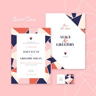 Kleurrijke en elegante bruiloft uitnodiging sjabloon