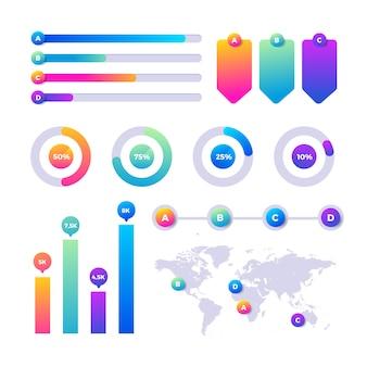 Kleurrijke en gradiënt infographic elementen instellen