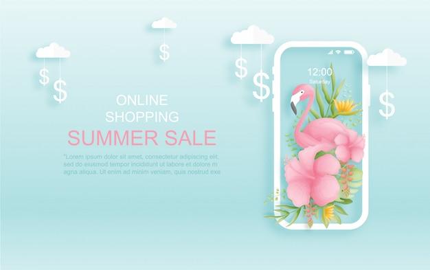 Kleurrijke en levendige tropische online zomer verkoop achtergrond met vogels, palmbladeren en bloemen. papier gesneden stijl. .