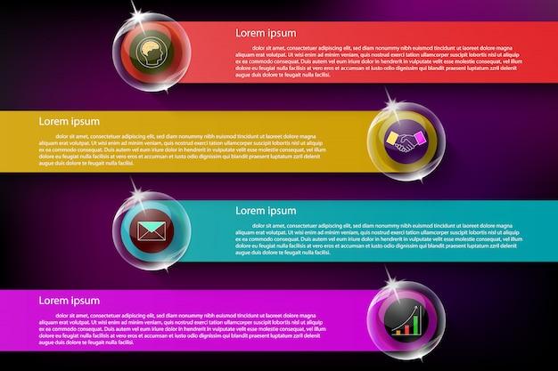 Kleurrijke en transparante infographic op donkere achtergrond.
