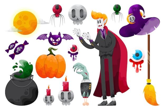 Kleurrijke enge halloween-elementencollectie