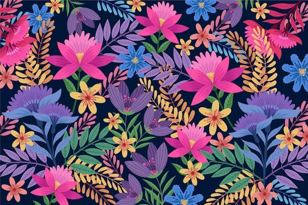 Kleurrijke exotische achtergrond met verschillende bloemen