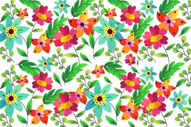 Kleurrijke exotische bloemenachtergrond in rood en groen