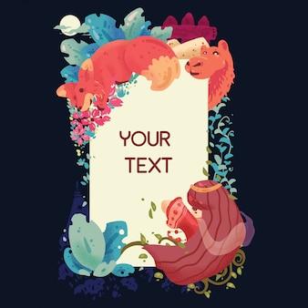 Kleurrijke fantasie dieren frame