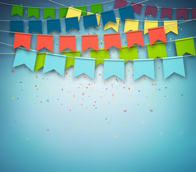 Kleurrijke feestelijke vlaggen met confetti op donkerblauwe achtergrond. feestelijke slinger,