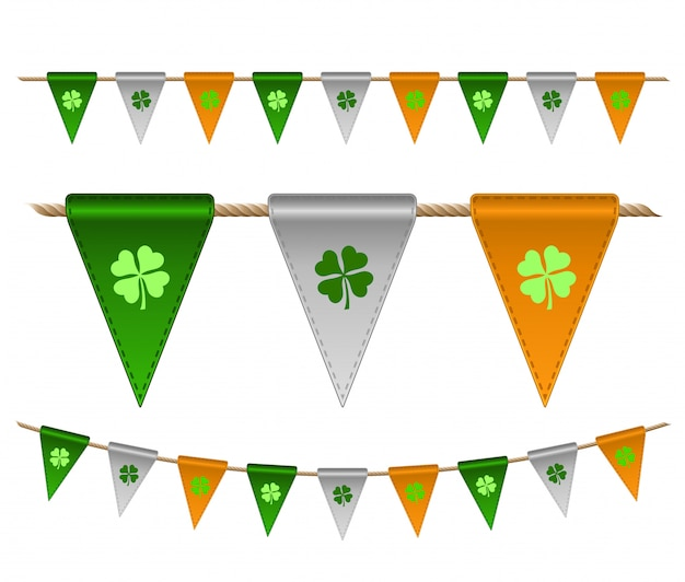 Kleurrijke feestelijke vlaggen met klavers