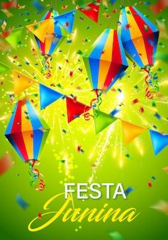 Kleurrijke festa junina achtergrond met vuurwerk