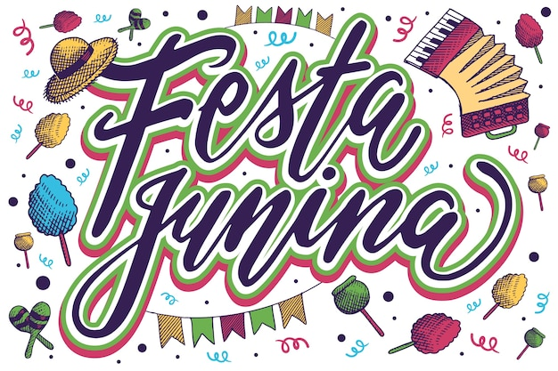 Kleurrijke festa junina belettering