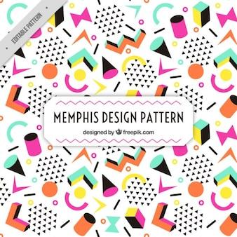 Kleurrijke figuren memphis patroon