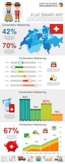 Kleurrijke financiën of analyseconcept infographic grafieken instellen