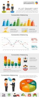 Kleurrijke financiën of groepswerk concept infographic grafieken instellen