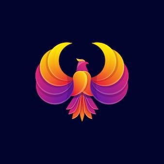 Kleurrijke fly eagle logo sjabloon