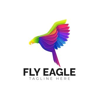 Kleurrijke fly eagle-logosjabloon