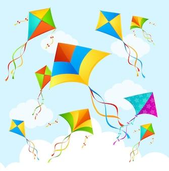 Kleurrijke flying kite on sky