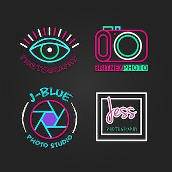 Kleurrijke foto studio logo's