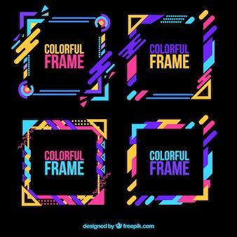 Kleurrijke frame-collectie met plat ontwerp