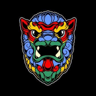 Kleurrijke fu hond