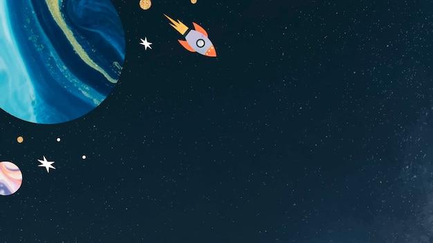 Kleurrijke galaxy aquarel doodle met een raket op zwarte achtergrond