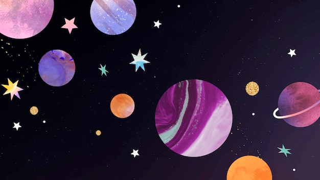 Kleurrijke galaxy aquarel doodle op zwarte achtergrond