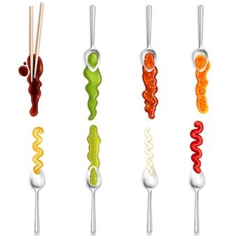 Kleurrijke gastronomische collectie van geïsoleerde pictogrammen