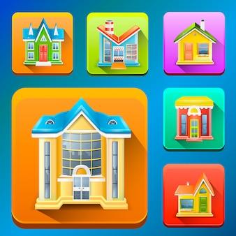 Kleurrijke gebouw pictogrammen illustratie